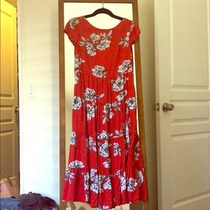 Red free people dress with white flowers